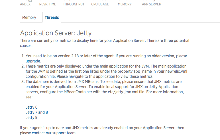 Jetty 8 linux missing transaction overview data and thread