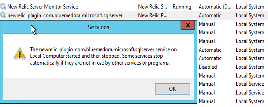 Cannot stard the 'newrelic_plugin_com bluemedora microsoft